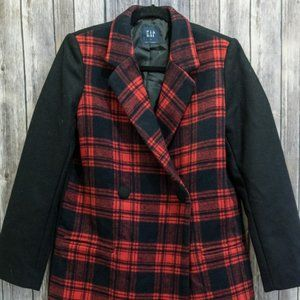 NWOT Gap Black Red Plaid Wool Blend Car Coat Small